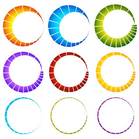 buffer: Preloader, buffer symbol elements, circular progress indicators