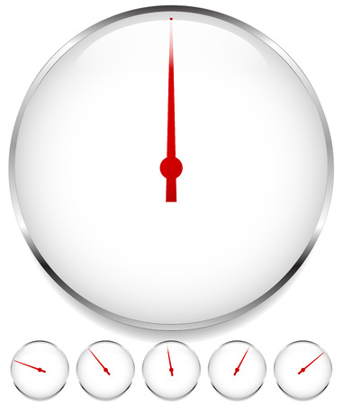 accelerating: Blank dial, gauge elements in sequence with red needle