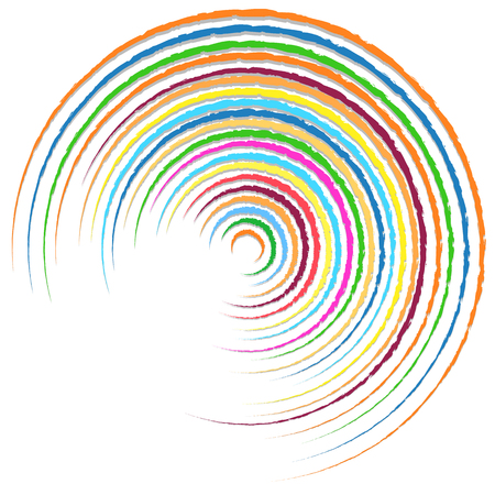 radiating: Random colorful circular, concentric lines abstract element