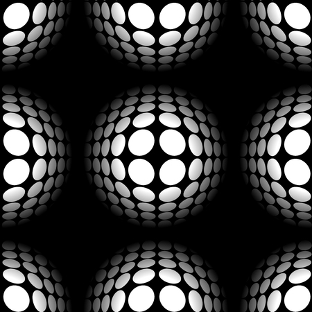 salient: Sphere, circles abstract monochrome pattern with distortion effect. Repeatable.