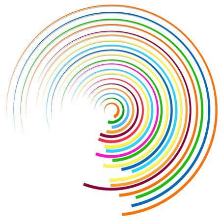 gyration: Random colorful circular, concentric lines abstract element