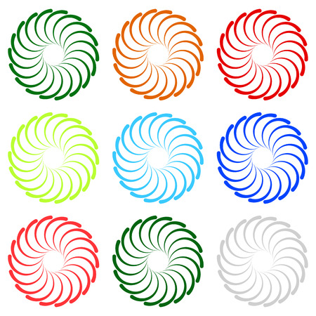 curl whirlpool: Colorful concentric, radial, radiating spiral elements with curved lines