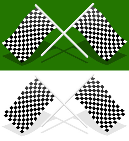 crossed checkered flags: Crossed checkered racing flags with transparent shadows