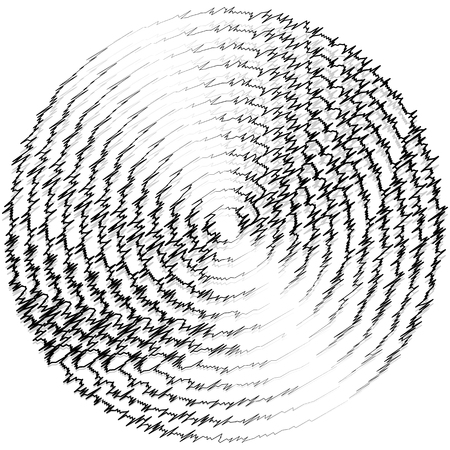 radiating: Outline of textured monochrome jagged zigzag concentric circles, rings Illustration