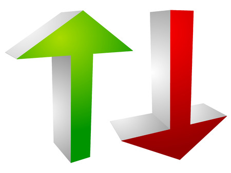 market bottom: Set of up and down arrows in green and red