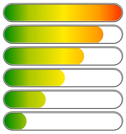 Cargando, barras de progreso, indicadores. Los niveles de bajo a alto. vectorial editable Ilustración de vector