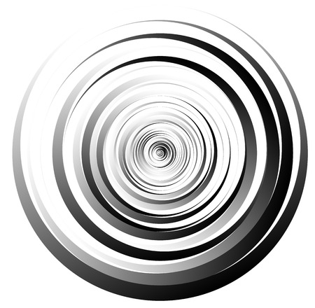 circulos concentricos: Spiral element, concentric circles with brush strokes Vectores