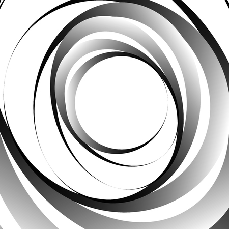 whirlpool: Abstract monochrome graphic with spirally random oval shapes. Twirl, vortex, whirlpool abstraction. Illustration