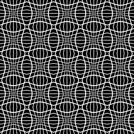 Abstract monochrome pattern with mosaic of distorted squares of lines