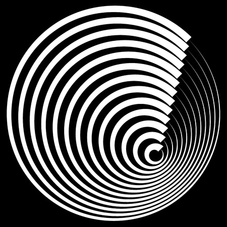 hypnotism: Concentric circles with stroke profile abstract element.