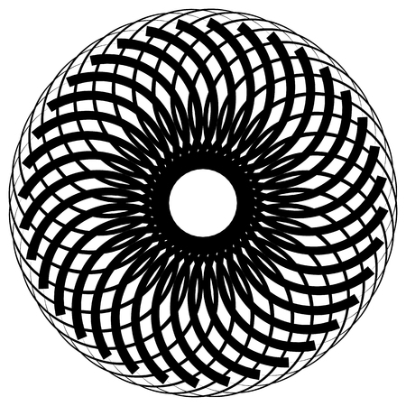 Abstract monochrome circular, spirally element on white.