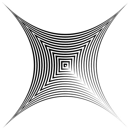 deformation: Abstract square element with deformation effect. Converging squares.