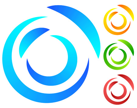 segmented: Colorful concentric, segmented circles. Abstract spiral, vortex graphic. Blue, orange, green, red versions.