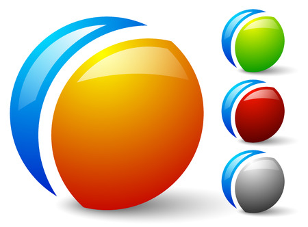 segmented: Bright, glossy generic circle icons, logos. 4 colors included, colors can be easily changed