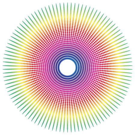추상 스펙트럼 색깔 방사형, 점선 된 요소 타원형 모양. 일러스트