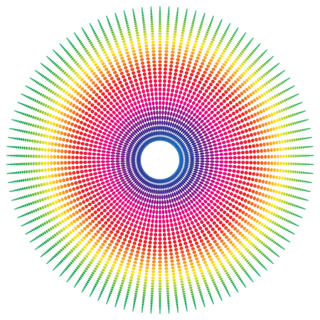 spectrum: Abstract spectrum colored radial, dotted element with oval shapes.