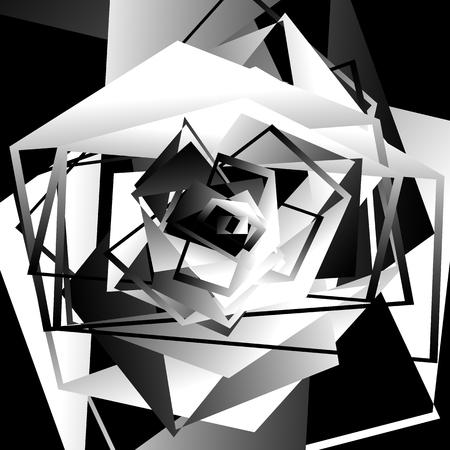 Monocromatico geometrico pezzo d'arte contemporanea. Scala di grigi grafica astratta.