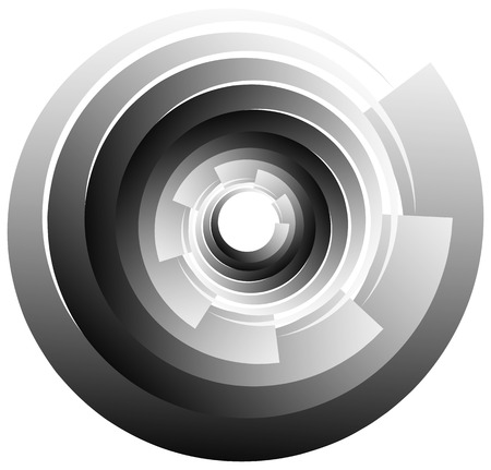 Spiral, vortex or volute element isolated on white. Rotating abstract shape with grayscale gradient. Illustration