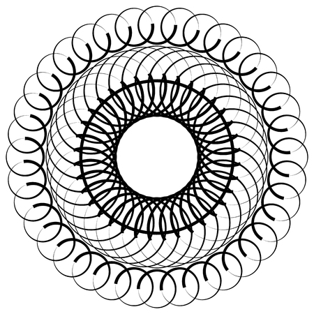 gyration: Abstract circular, spiral element isolated. Monochrome graphic.