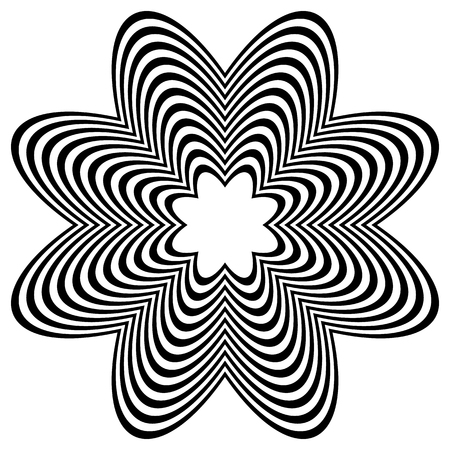 distortion: Radiating object with distortion. Abstract wrinkled, corrugated rounded shape. Illustration