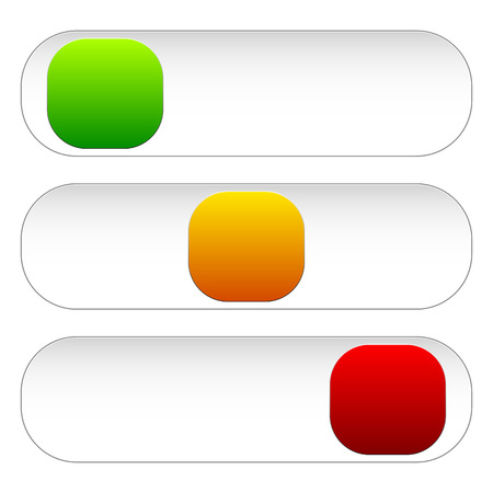 shutdown: Horizontal power button sliders in 3 states without icons. Illustration
