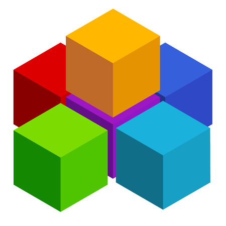 Cubes abstract 3d, multicolor element on white Illustration