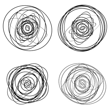 Set of dandom intersecting, tangled circles - Squiggle elements Illustration
