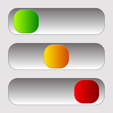 Horizontal power button sliders in 3 states without icons. Illustration