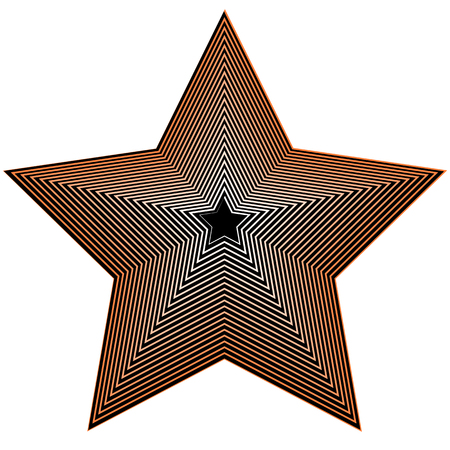 Abstract geometric star shape on white. Beveled 3d star. Illustration