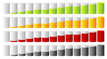 barell: 3d cylindrical progress, step indicators in more colors