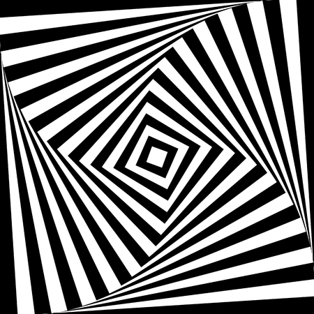 distortion: Squares with rotating distortion abstract monochrome vector graphic.