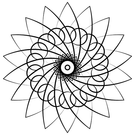 curvature: Abstract circular, spiral element isolated. Monochrome graphic.