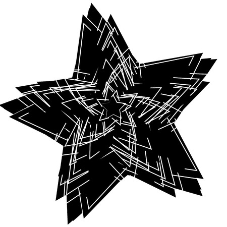 scratchy: Abstract scratchy, textured star element. Random overlapping stars. Artistic monochrome design element