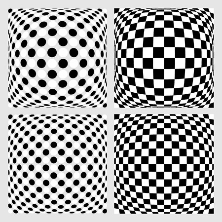 convex shape: Set of dotted  checkered backgrounds, patterns. Distorted backdrops.