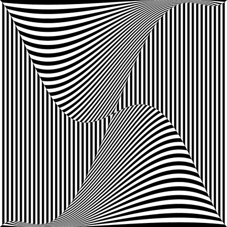 deformation: Abstract monochrome vector graphic with deformation on squares