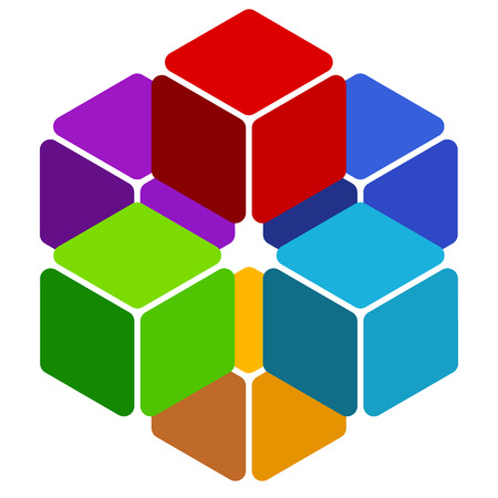 three dimensional: Cubes abstract 3d, multicolor element on white Illustration