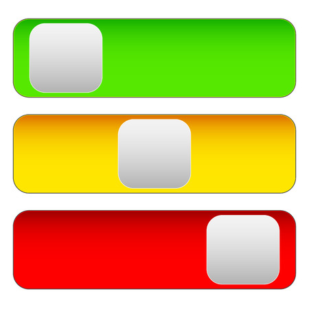 powerbutton: Horizontal power button sliders in 3 states without icons. Illustration