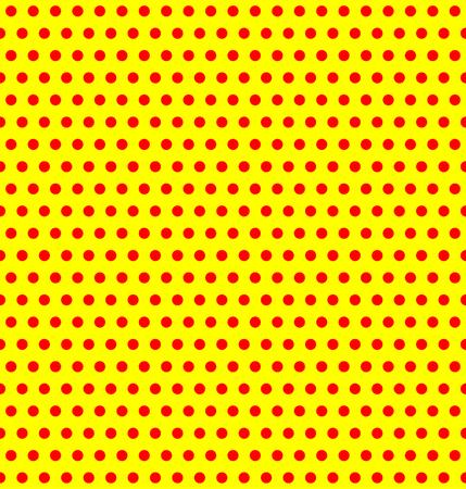 duotone: Repeatable duotone, yellow-red pop-art polka dot pattern.