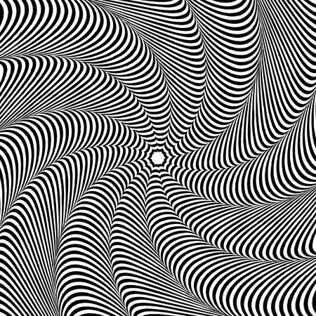 gyration: Abstract radiating pattern with deformed shapes spreading from center
