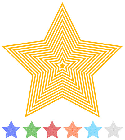 asterix: Set of flat contour star icon in 7 colors