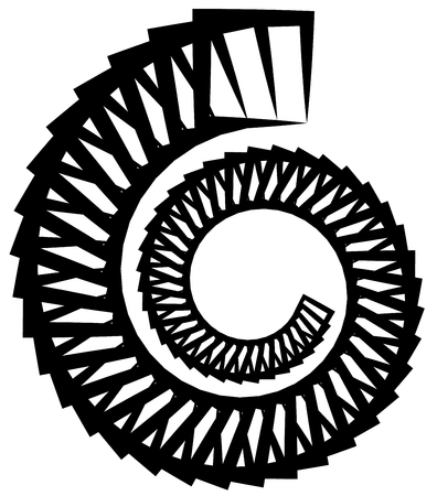 mesmerize: Abstract monochrome circular, spirally element on white.
