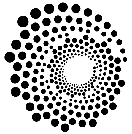Circular, radial dots. Abstract dotted, concentric element. Vectores