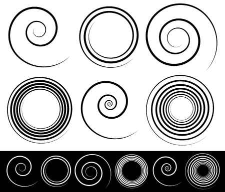 Set of different spirals with stroke profile