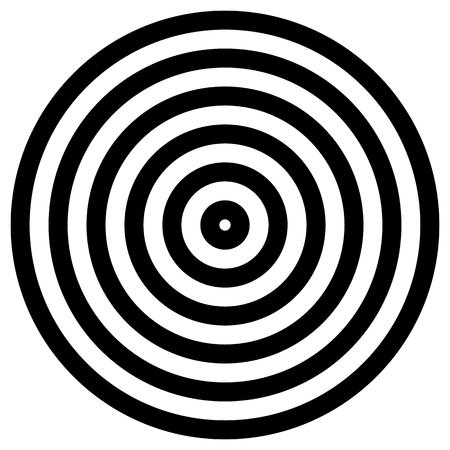 concentrique simple, radiants cercle graphiques isolé sur blanc