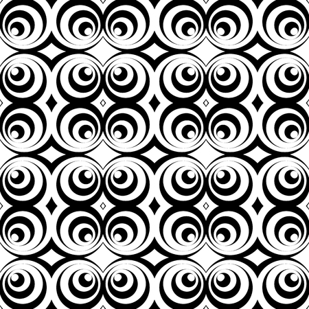 symetry: Repeatable pattern with circles, abstract monochrome vector