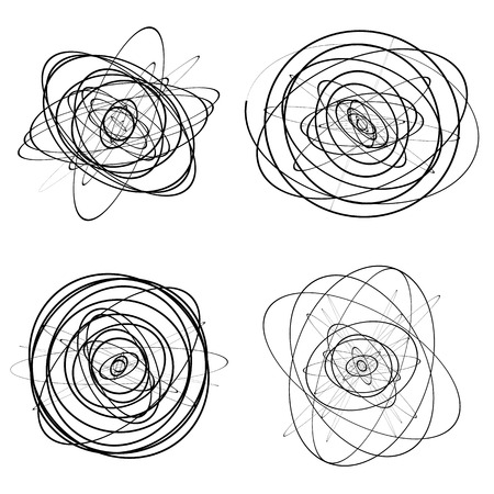 squiggle: Set of dandom intersecting, tangled circles - Squiggle elements Illustration
