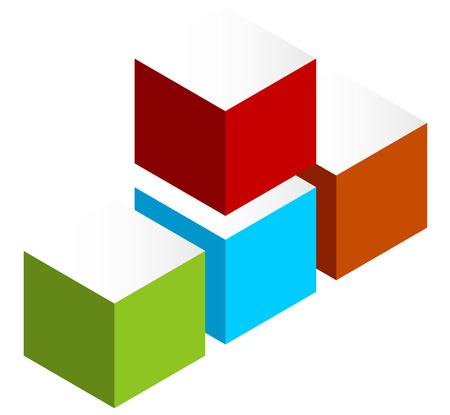 logo element: Stacked 3D cubes colorful icon on white. Isometric cubes.