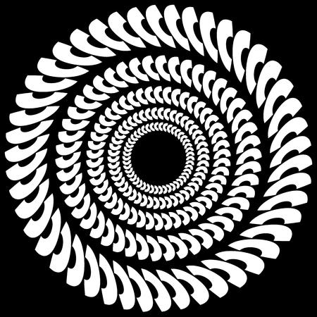 radiating: Circular, radiating element. Abstract monochrome geometric graphic.