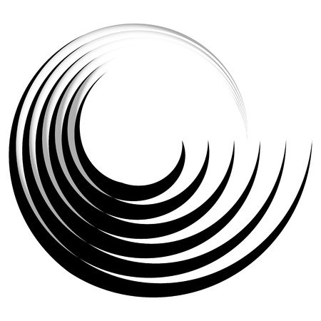 radiating: Concentric, radiating circle graphics isolated on white