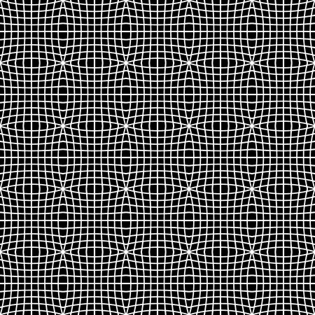 distorted: Abstract monochrome pattern with mosaic of distorted squares of lines